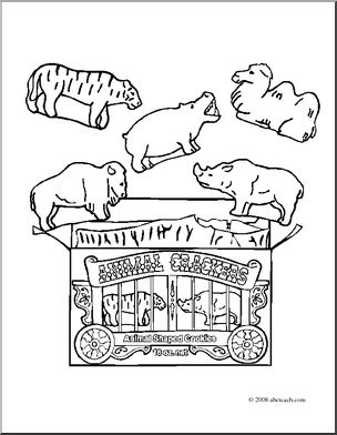 Clip Art: Animal Crackers (coloring page) I abcteach.com.