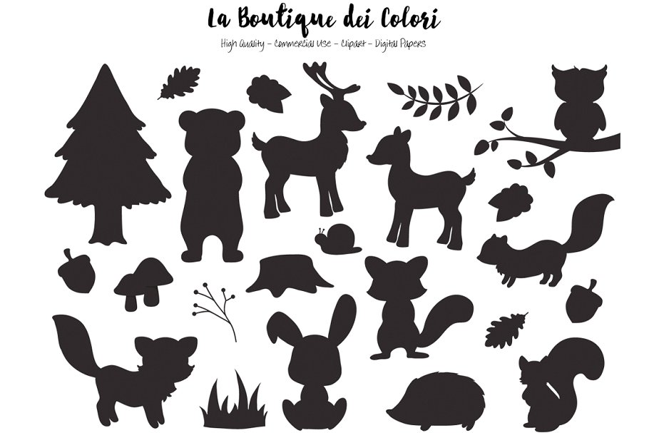 Silhouette Woodland Animal Clipart.
