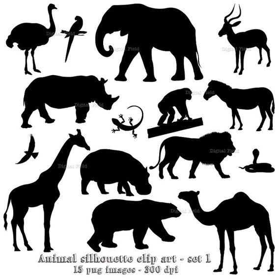 Animal silhouette clip art set 1.