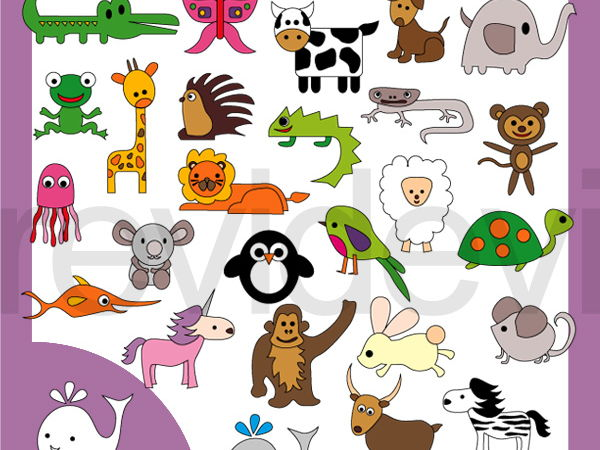 Simple Alphabet Animals clipart.