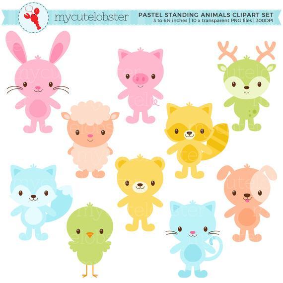 Pastel Animals Clipart Set.