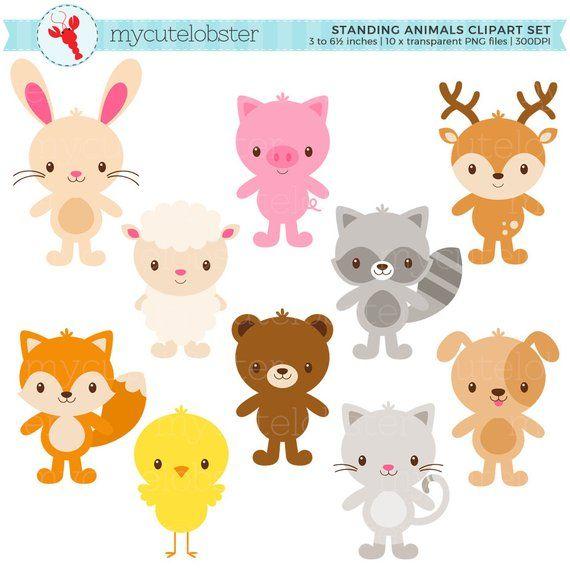 Cute Animals Clipart Set.