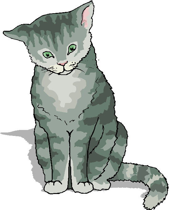 Free Microsoft Clipart: Funny Grey Cat Standing Free Animal.