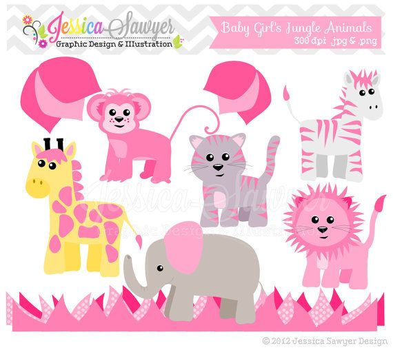 INSTANT DOWNLOAD Jungle animal clip art by.