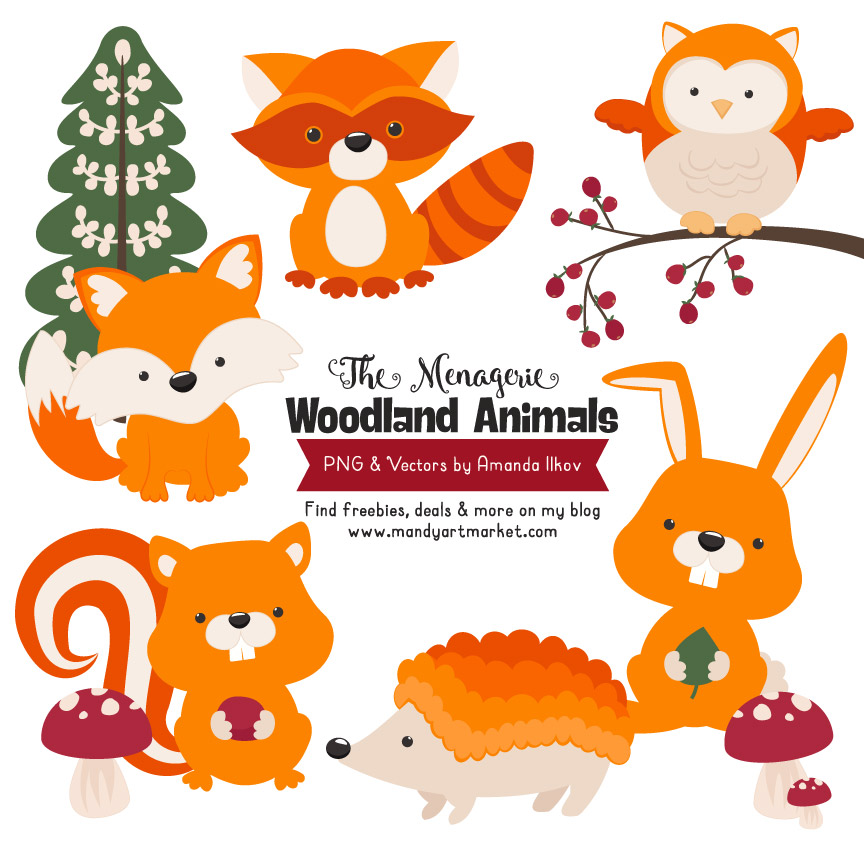 Orange Woodland Animals Clipart.