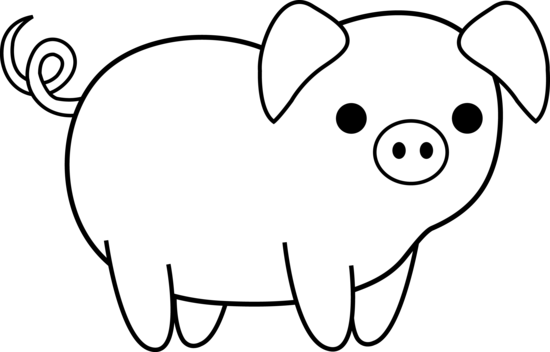 Black And White Pig Clipart No Background.