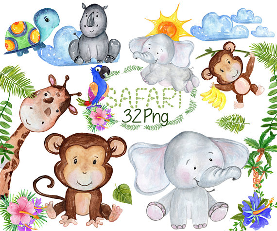 Safari Animals Clipart: \
