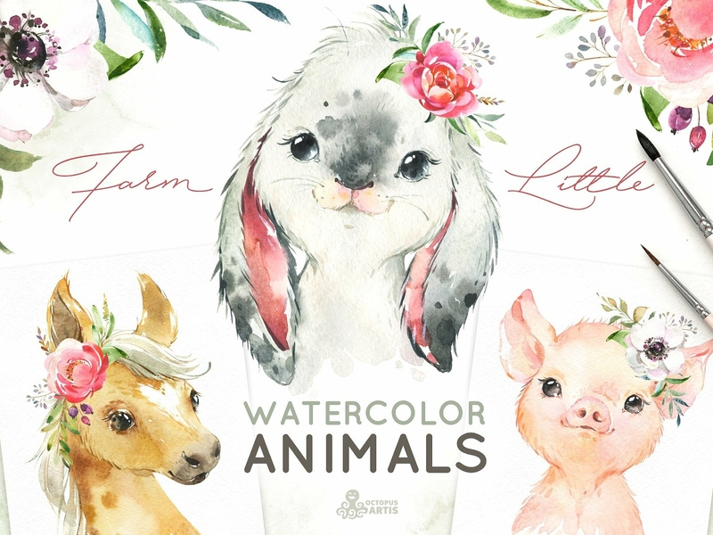 Farm Little Watercolor Animals by Graphic Assets on Dribbble.