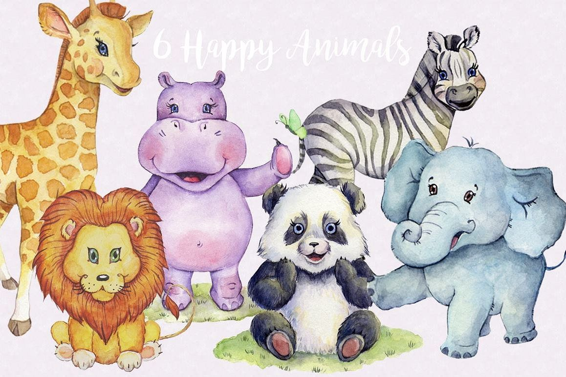 Watercolor Animals Clipart Images by Whimseez.