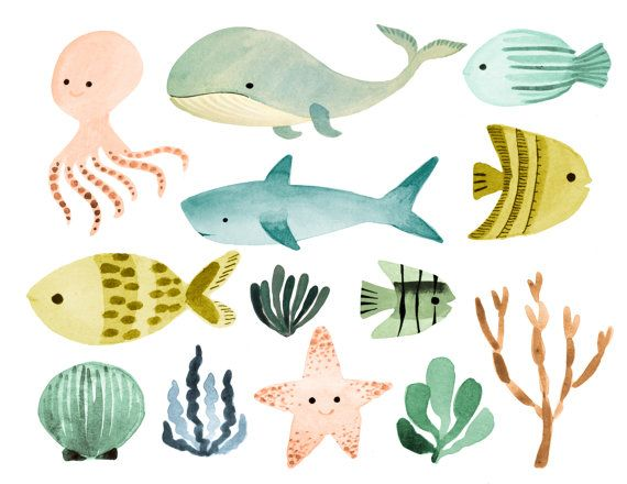 Ocean clipart, sea clipart, ocean animals clipart, nautical.