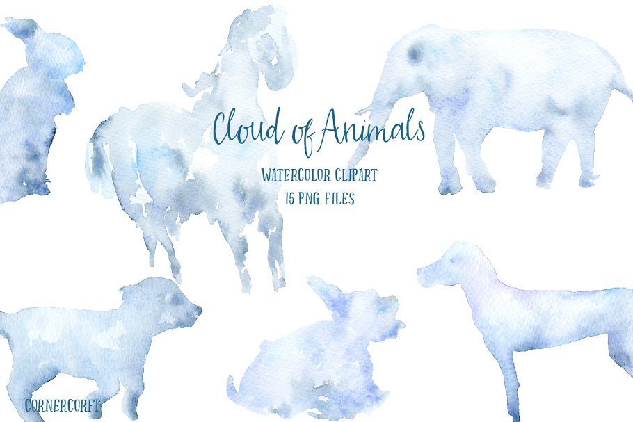 Watercolor Clipart Cloud of Animals.