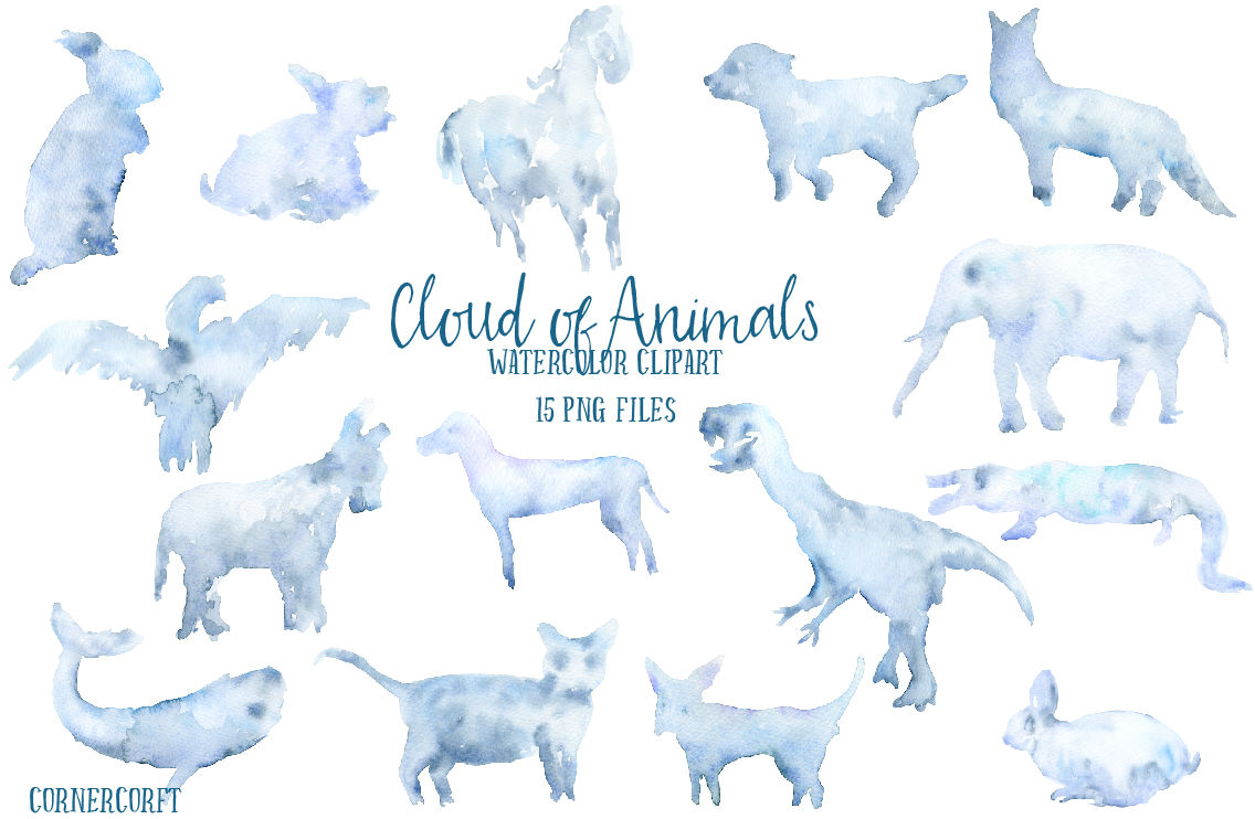 Watercolor Clipart Cloud of Animals By Cornercroft.