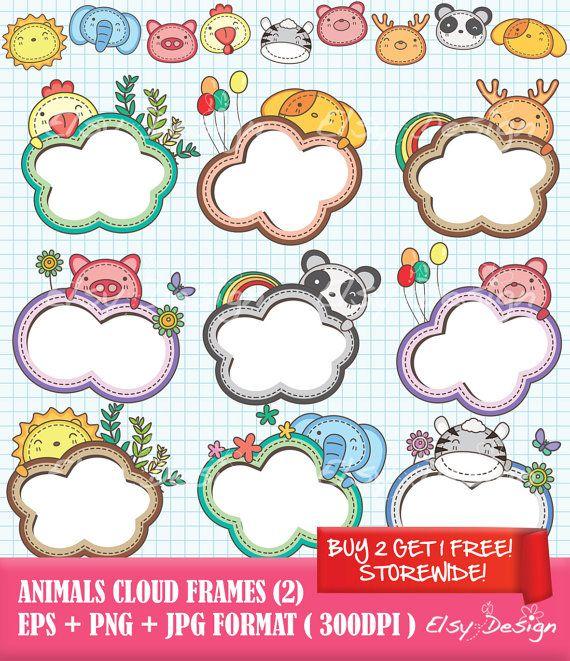 Animals Cloud Frames 2 Digital Set Free Digital by.