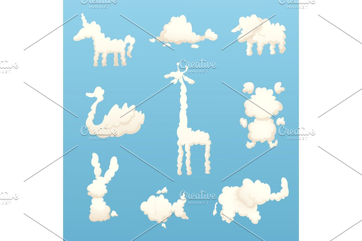 Animals from clouds. Various shapes.