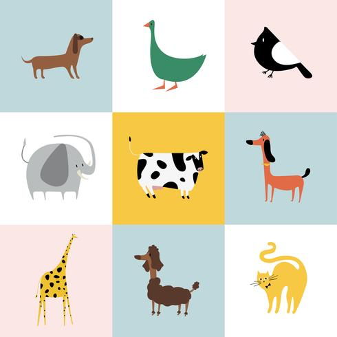 Collage of different kinds of animals.