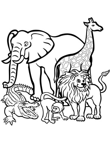 African Animals coloring page.