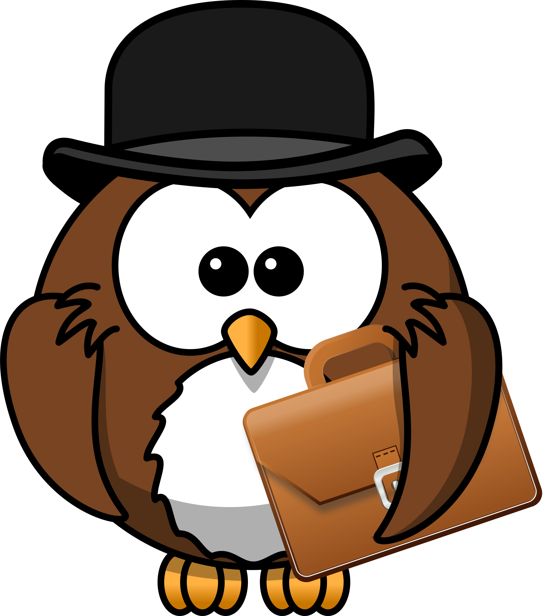 Owl with hat and briefcase by Iyo.