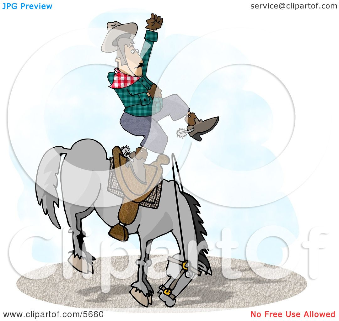 Bareback Bronc Riding at a Rodeo Competition Clipart Illustration.