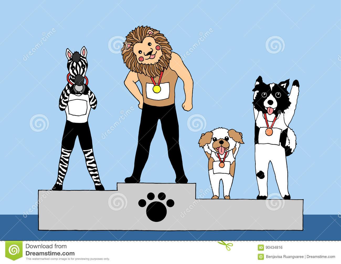 Funny Animals On Winner Podium Competition, Vector Design Hand.