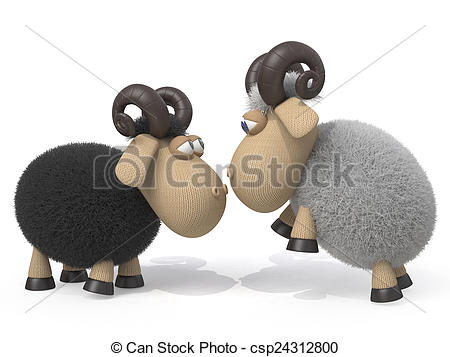 Stock Illustration of Competition of rams.