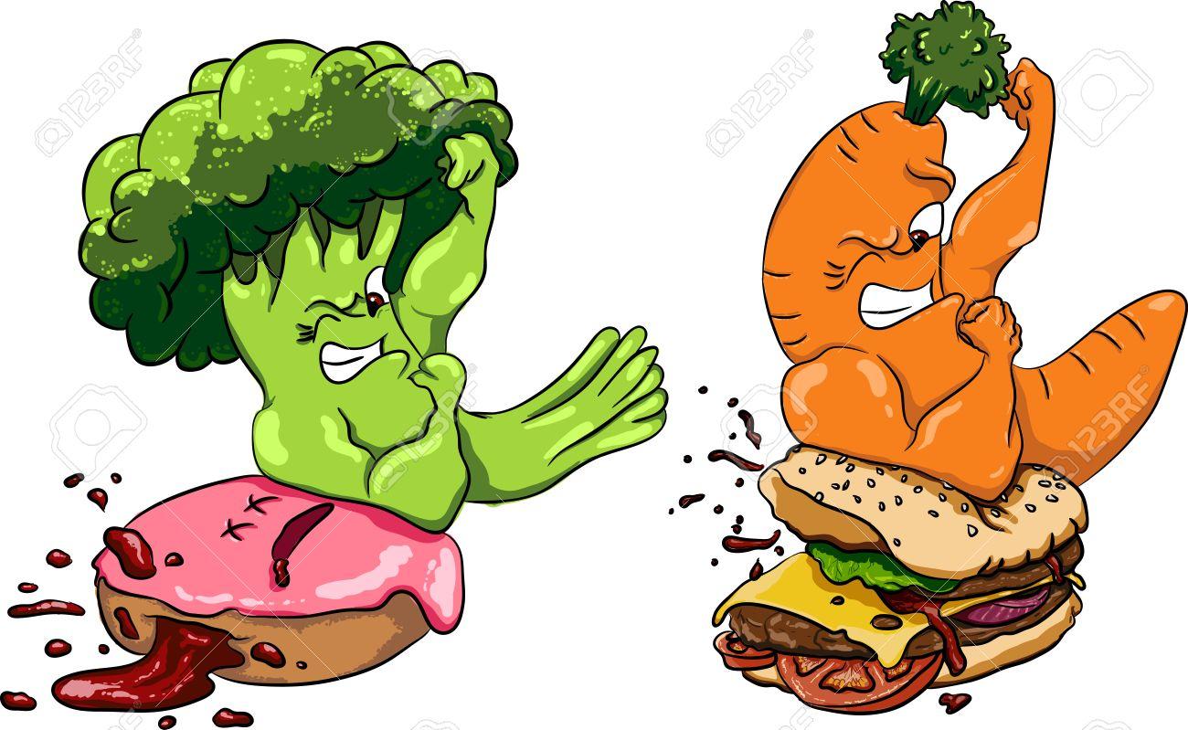Junk Food Vs Healthy Food Clipart.