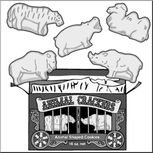 Clip Art: Animal Crackers Grayscale I abcteach.com.