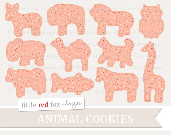 Animal Cookie Clipart, Animal Cracker Clip Art Snack Treat Baking.