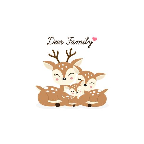 Cartoon Deer family. Mother Father and baby..