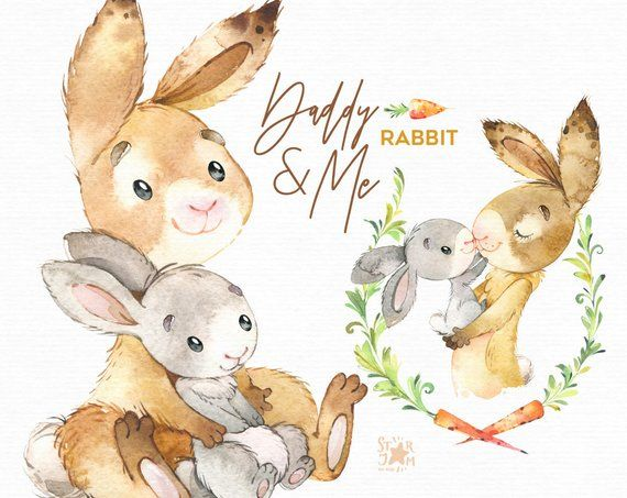 Daddy & Me. Rabbit Watercolor animals clipart, father, hugs.