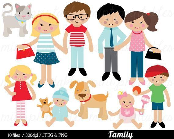 Family Clipart, Family Clip Art, mom mum dad cat dog baby.