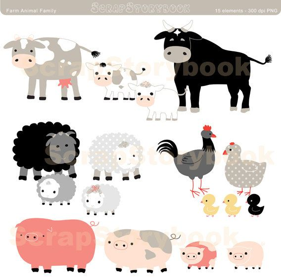 Farm Animal Family Set.