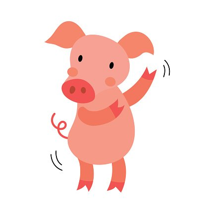 Dancing Pig animal cartoon character vector illustration.