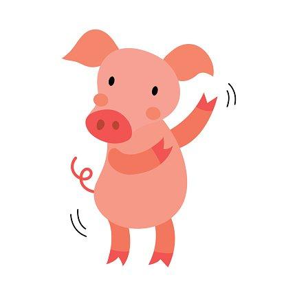 Dancing Pig animal cartoon character vector illustration.