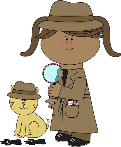 Detective girl following clues with her pet detective cat.