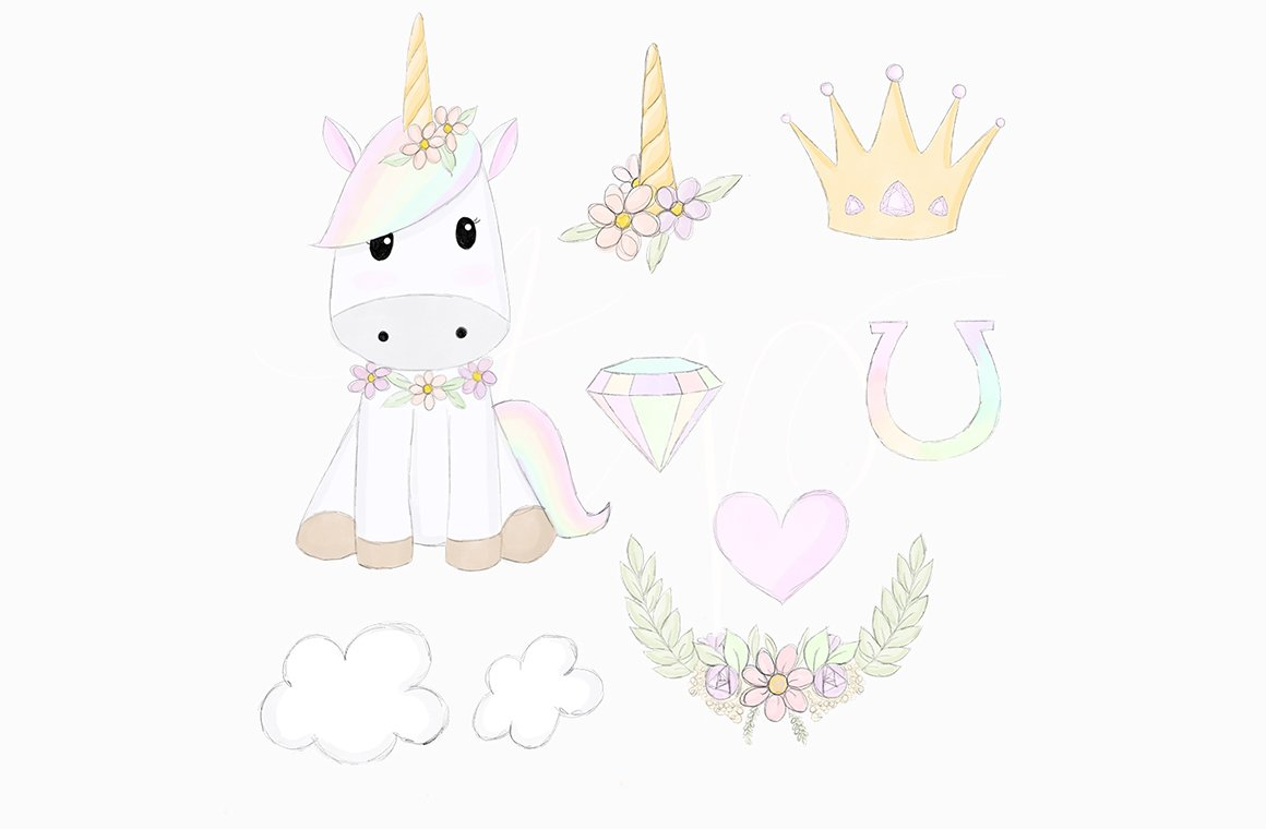 Sketched Unicorn Dreams Clipart.