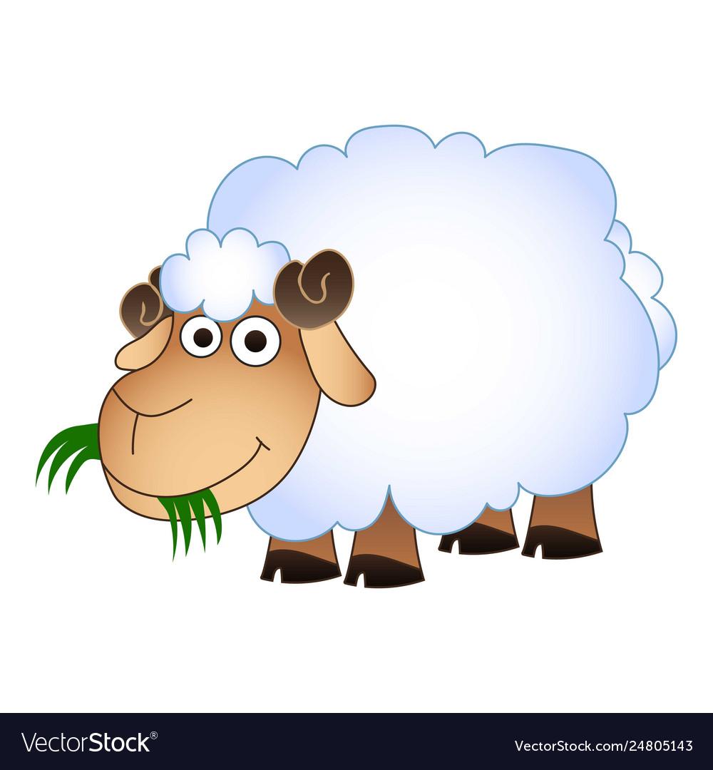 Sheep eat green grass icon cartoon style.