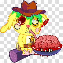 Mega, zombie animal eating brain art transparent background.