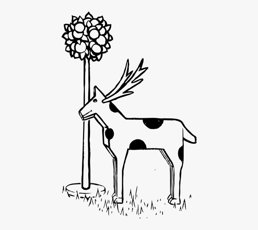 Deer, Animal, Mammal, Black And White, Eating, Plant.