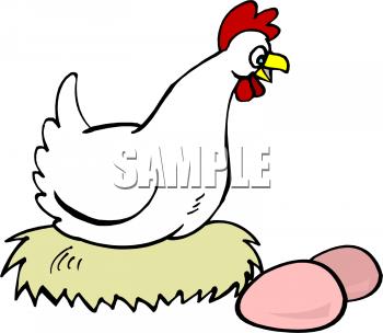 Clip Art Hen With Eggs Clipart.