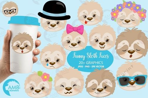 Sleepy sloth faces clipart, emoji faces, sloth emoji clipart.