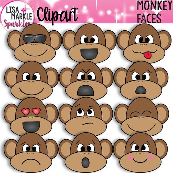 Emoji Clipart, Emotion Clipart, Monkey Clipart, Monkeys.