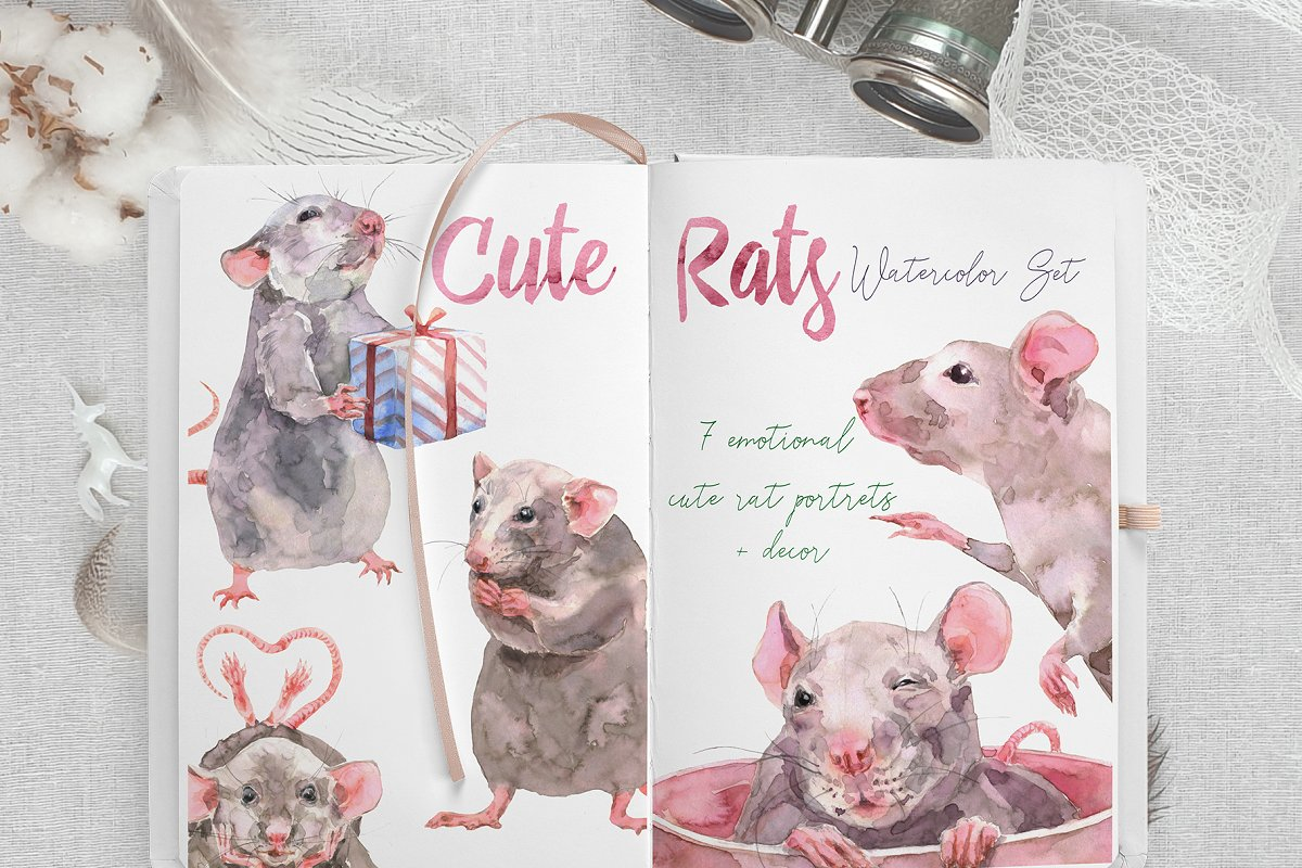 Cute Rats Watercolor Set ~ Illustrations ~ Creative Market.