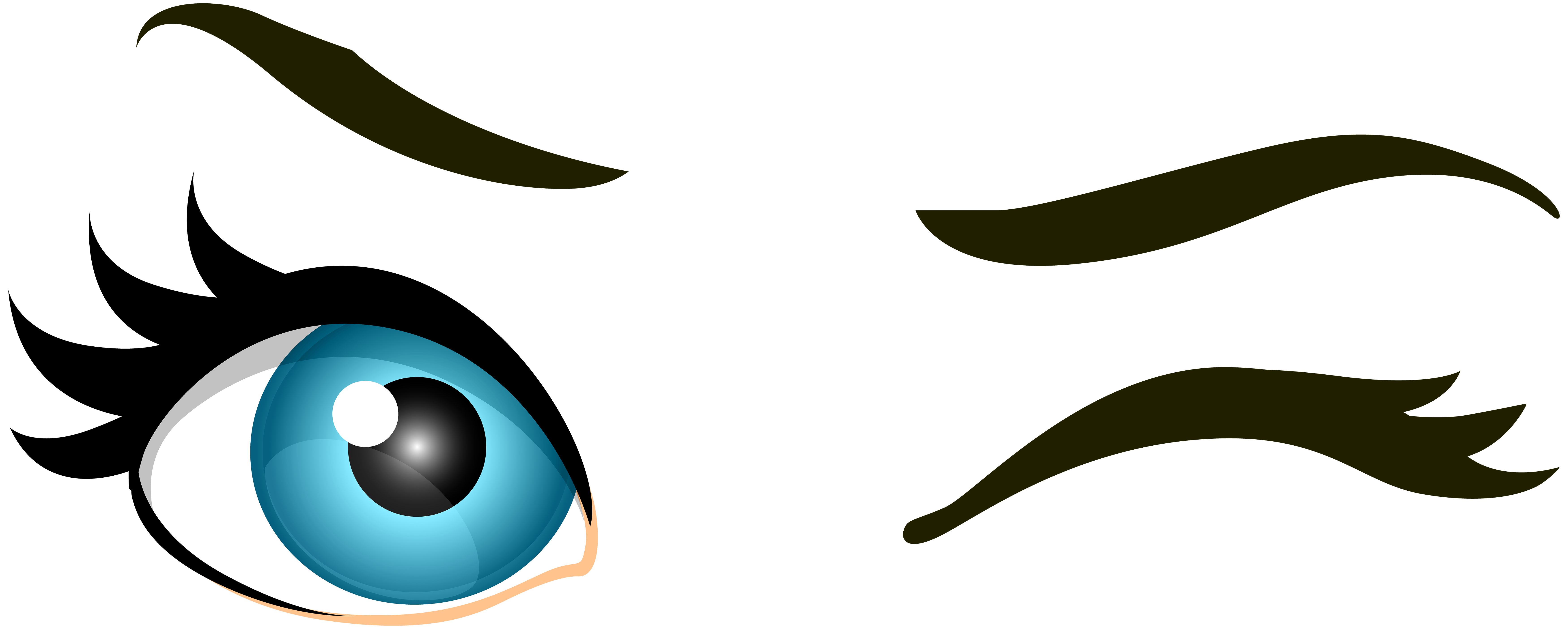 Blue Winking Eyes PNG Clip Art.