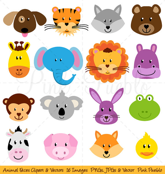 Animal Faces Clipart Clip Art Zoo Jungle Farm Barnyard Forest by.