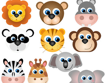 Animal faces clipart.