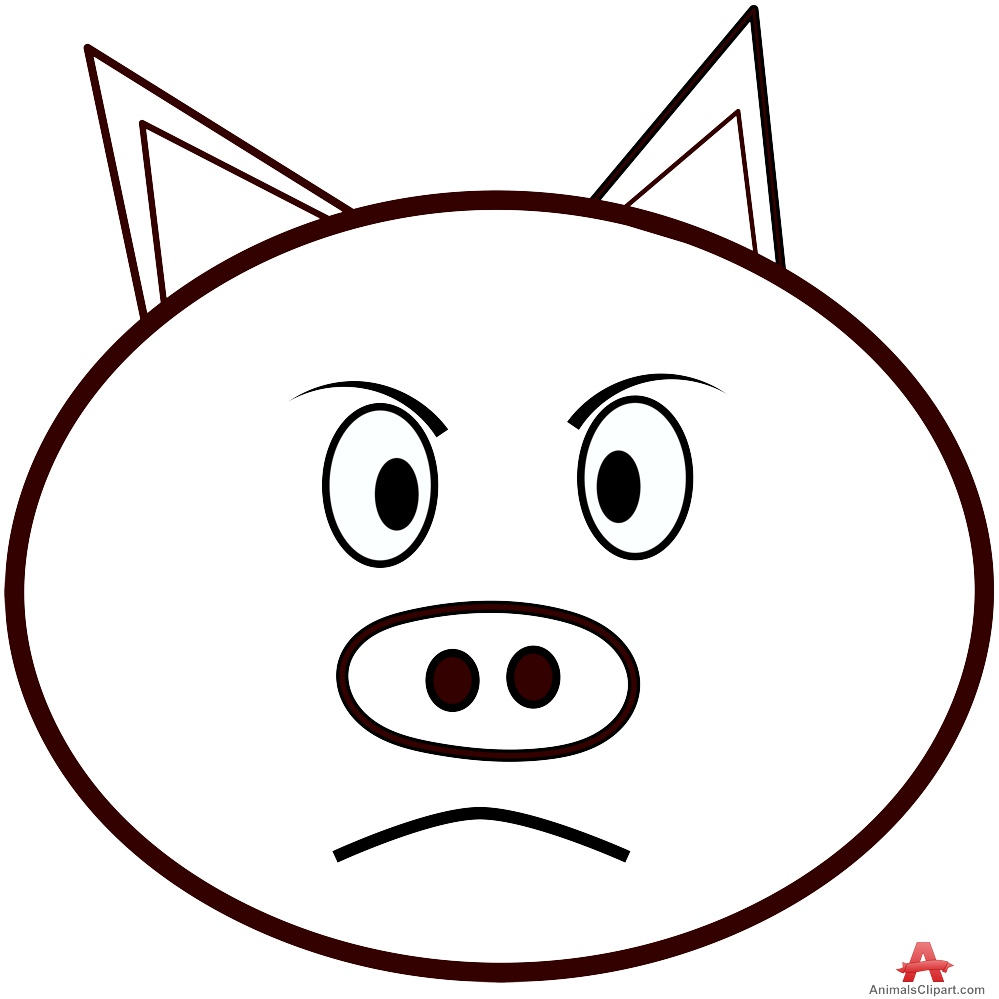 Pig face outline clipart free design download.