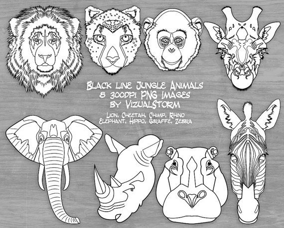 Black and White Safari Animal Face Clipart Jungle Animal.