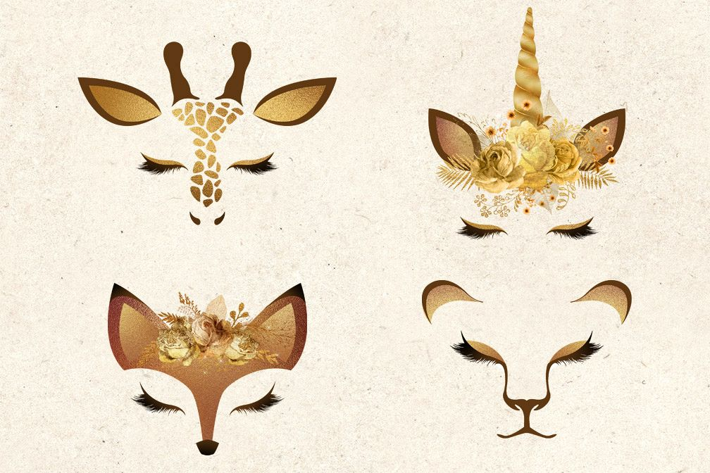 Gold Animal Faces Clipart.