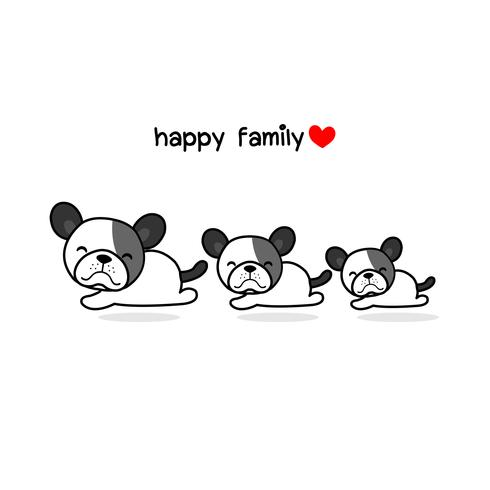 Cute mother father and baby dog. Happy animal family cartoon.