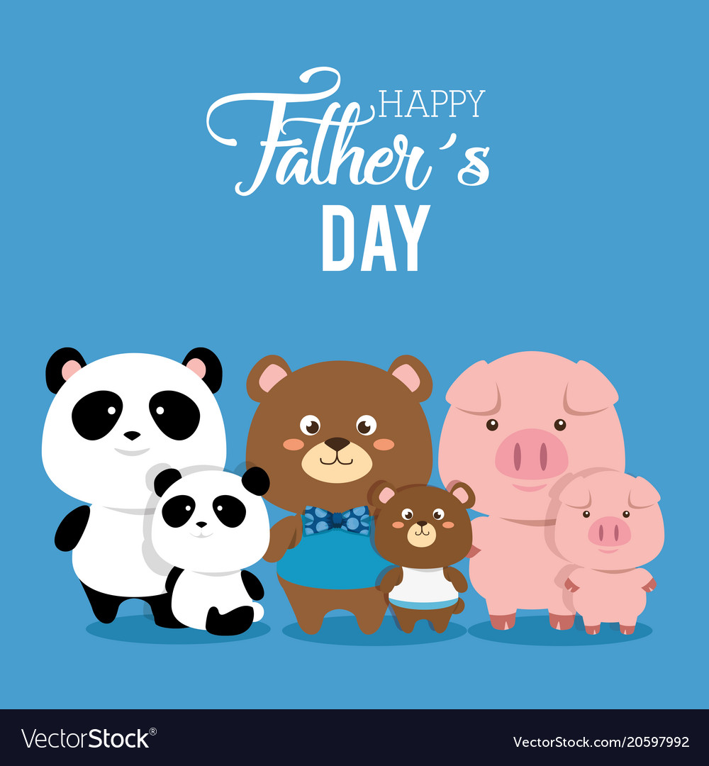 Happy fathers day card with animals family.